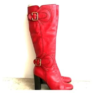 Chloe Leather Super 🔥 Vibrant Red Boots Size 37